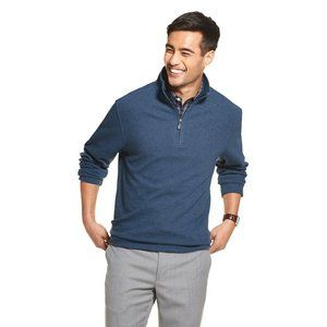 Mens Blue Classic-Fit Ottoman Quarter-Zip Pullover